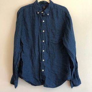 J. Crew Slim Fitted Linen Button Down Shirt